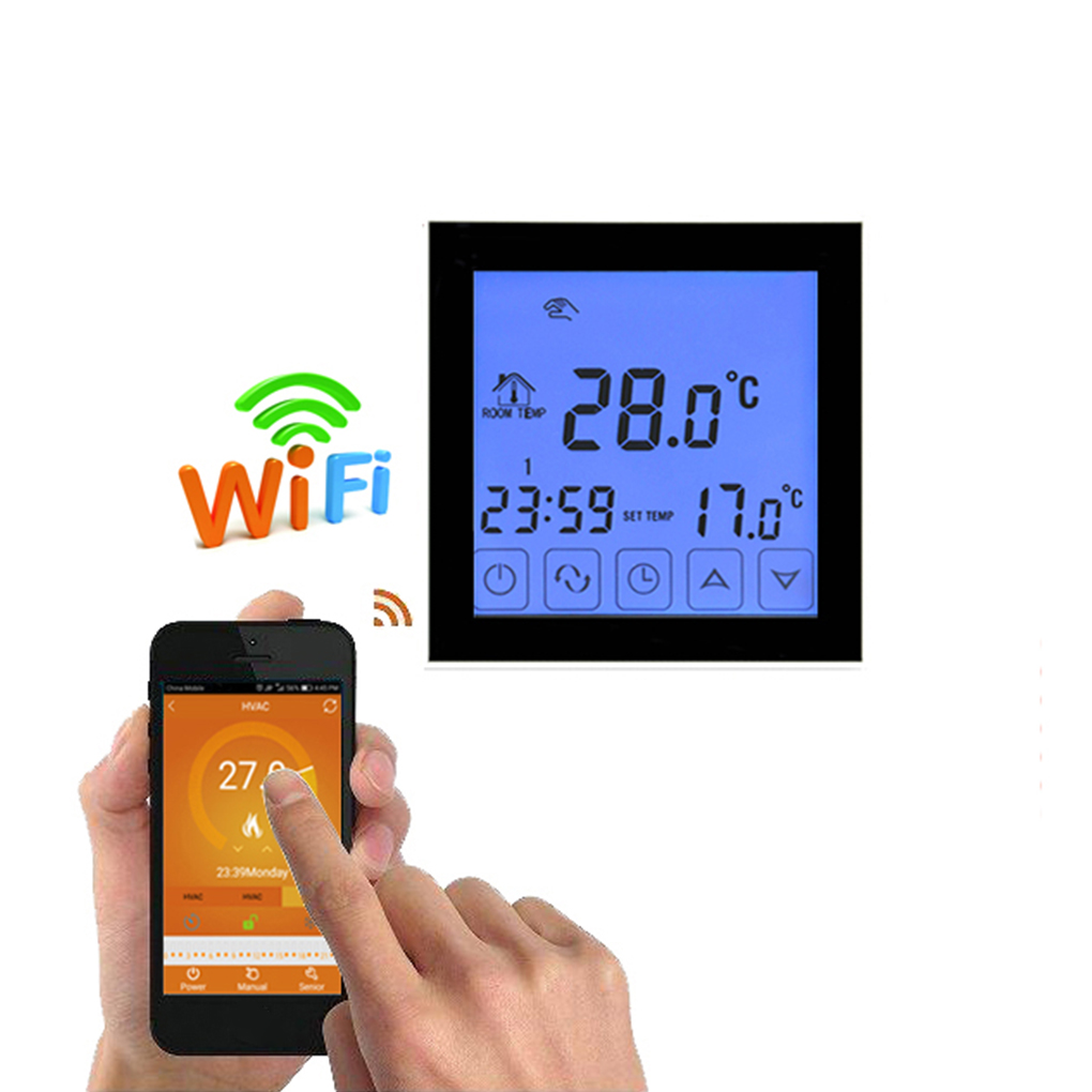 Digital Wifi Water Floor Heating Thermostat Programmable Room Temperature Controller LCD Display Wifi Thermostat hessway app by smartphone 2p programmable fan valve room thermostat wifi fcu for heating cooling