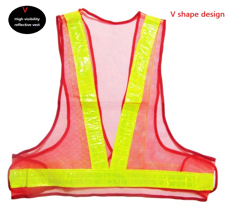 V Style Reflective Safety Warning Vest Road Traffic Cleaning Work Clothing
