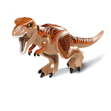 10PCS/LOT Brown Tyrannosaurus Rex Dinosaur Jurassic World Park Bricks Model Building Blocks Toys For Children