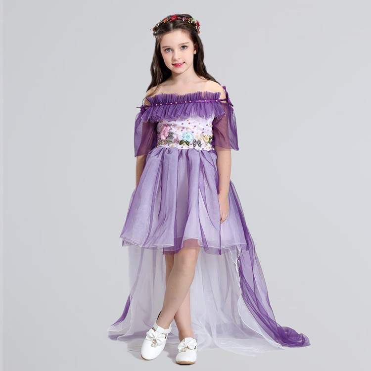 Fashion New Girl Wedding Dress Purple Lace Shoulderless