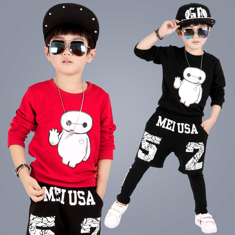 ФОТО New Arrivals Fashion Boys Clothes Children Boys 2017 Spring Autumn Character Long Sleeve Coats+ Pants Suit 2pc Boy Clothing Sets