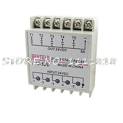ST5-5DD Five 5 Phase Solid State Relay SSR 24V DC to 24V DC DIN Rail normally open single phase solid state relay ssr mgr 1 d48120 120a control dc ac 24 480v