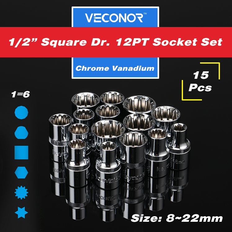 15 pieces 1/2 square drive 12pt socket set ratchet wrench socket power tool accessories CrV 8 to 22mm 46pcs 1 4 inch high quality socket set car repair tool ratchet set torque wrench combination bit a set of keys chrome vanadium