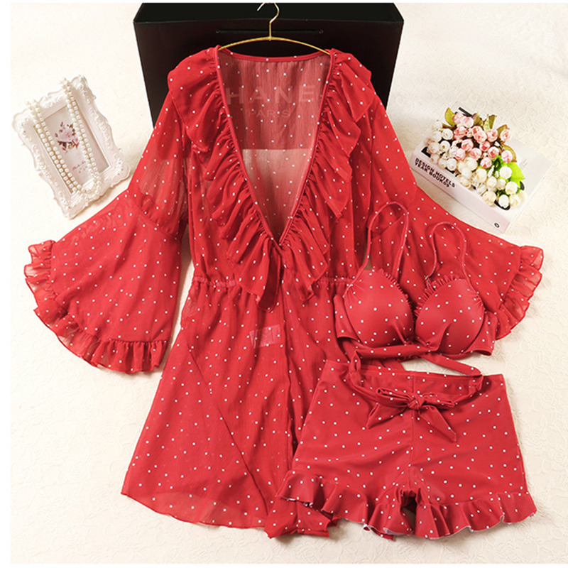 Push Up Swimsuit Woman 2018 Red Printing Tankini Set Women Swimwear 3 Piece Suits Print Bathing Suit Beach Wear Swim Plus Size