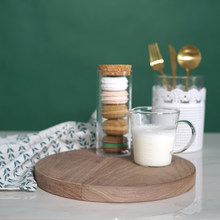 Walnut wooden Round serving dish kitchen/fruit tray home decorative trays cupcake pallet Cosmetic Jewelry storage tray MTP08(China)
