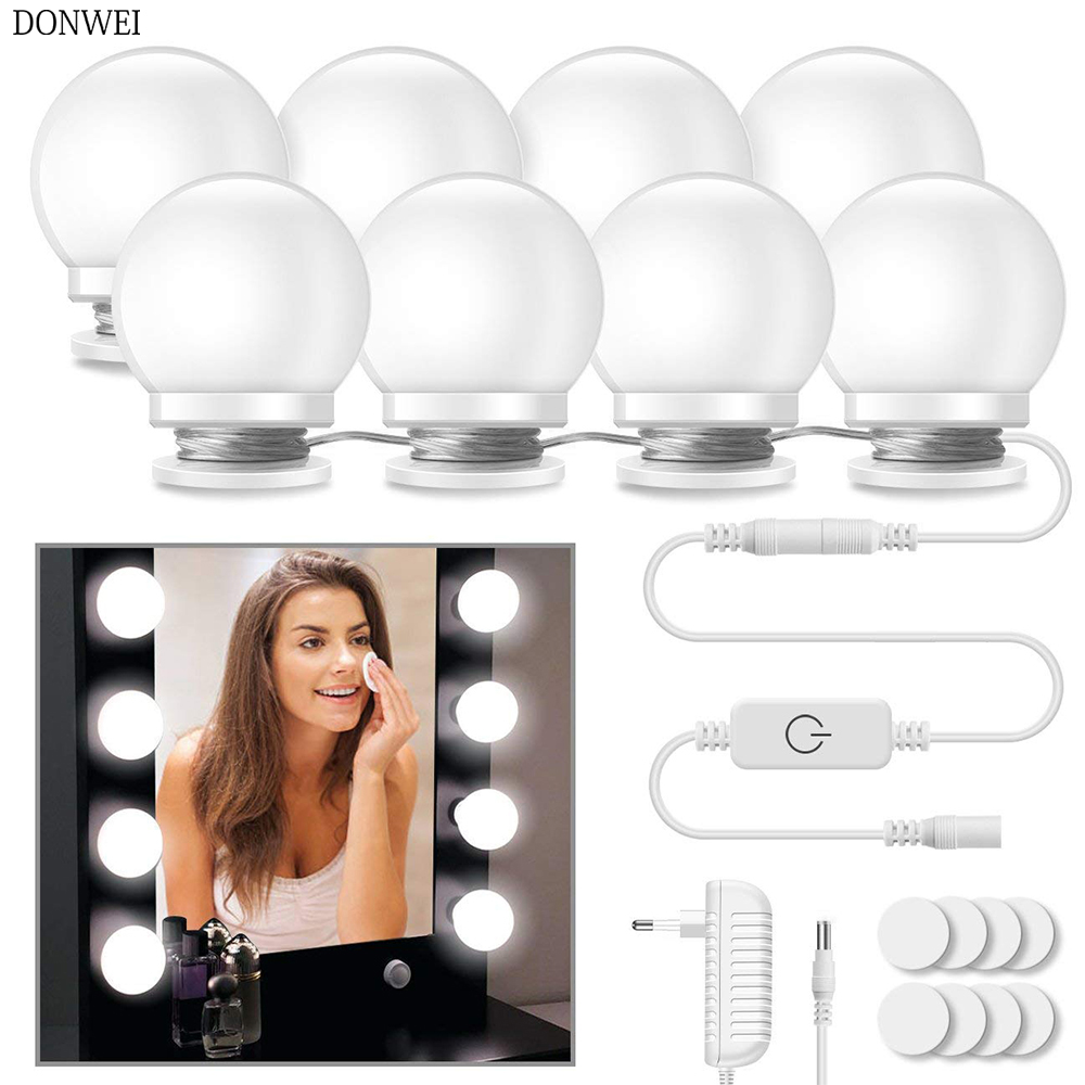 10 قطعة مرآة لوضع مساحيق التجميل الغرور LED مصابيح كهربائية طقم مصابيح 3 مستويات سطوع قابل للتعديل مضاءة يشكلون المرايا مستحضرات التجميل أضواء
