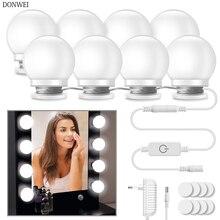 Kit de lampes pour miroir à maquillage, 10 pièces, lumière LED ampoules, luminosité ajustable sur 3 niveaux, éclairage pour se maquiller