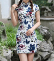 New Arrival Chinese Women's Mini Cotton Linen Cheongsam Vintage Qipao Dress Vestido mujeres Size S M L XL XXL 2517-2
