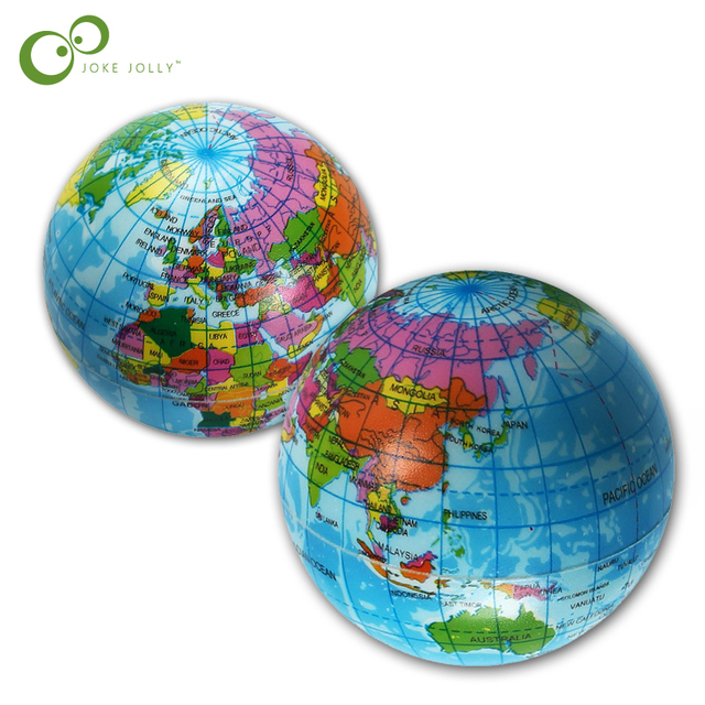 US $1.34 21% OFF|2pcs/lot Mini Foam World Globe Teach Education Earth Atlas  Geography Toy Map Elastic Ball Model Figurines Ornaments Crafts WYQ-in Toy  ...
