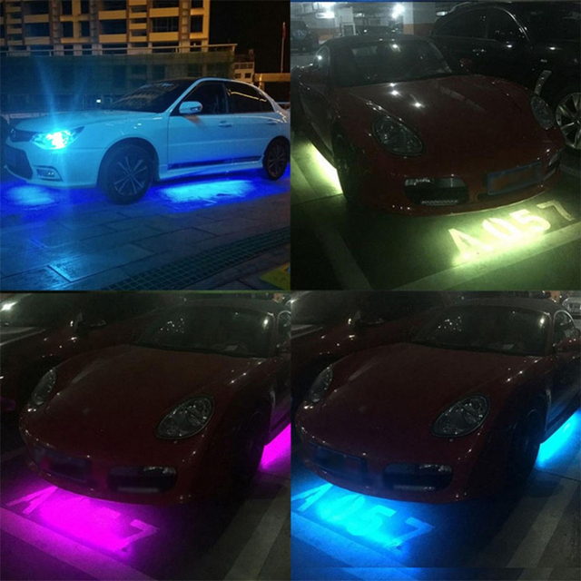 US $24 83 6% OFF LED Strip Lights Colors RGB 5050 SMD Under Car Tube  Underglow Underbody System Neon Chassis Light Kit + Remote Control NEW-in