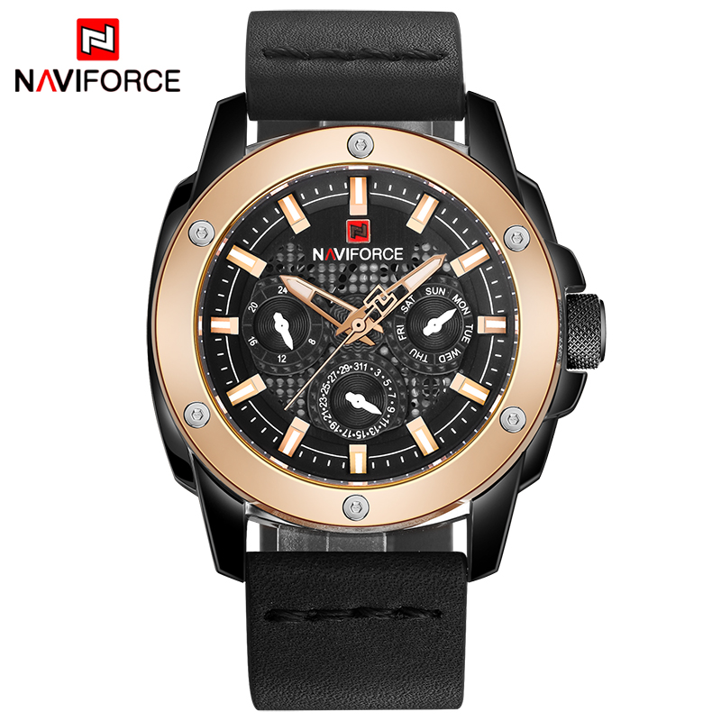 Watches Men NAVIFORCE Brand Fashion Quartz Watch Men's Waterproof Military Sport Wristwatch Man Leather Clock relogio masculino цена и фото