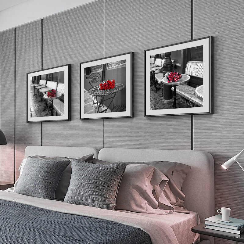 現代トワイライト赤バラストリートビューキャンバス絵画ポスター印刷黒 n 白壁絵寝室通路