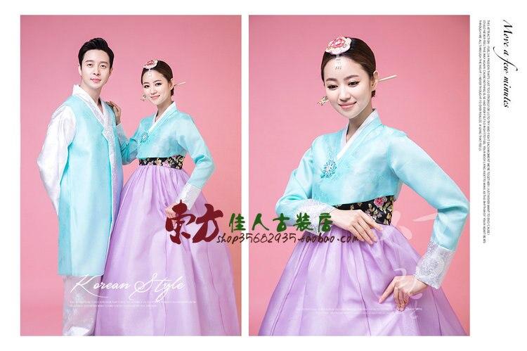 Han Wang Shi Zi Korean Prince Traditional Korea Hanbok Wedding Costume Sets for Lovers and the Couple with Bride Hair Tiaras