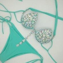 bandage diamond swimsuits 2019 high cut crystal bikinis set sexy women bikini push up shining Rhinestone swimwear Female biquini