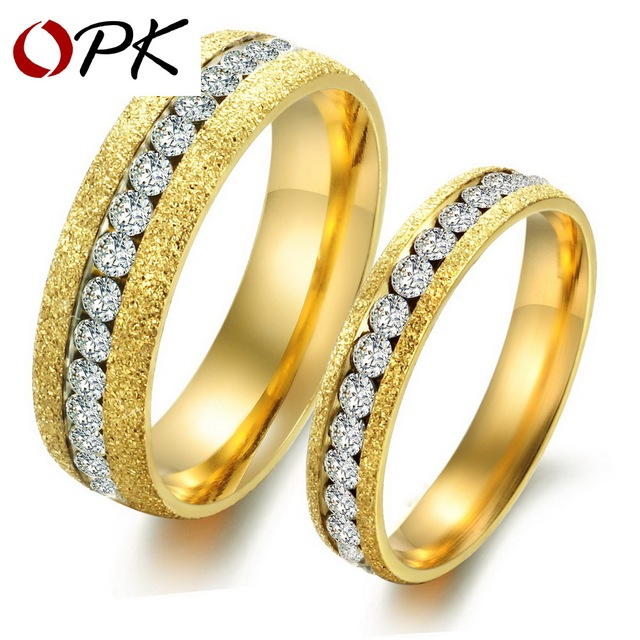 OPK JEWELRY Engagement gift Packing Gold Color  couple ring Titanium steel ring (gold is for male grey is for famale) GJ362