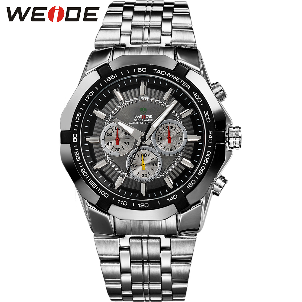 WEIDE Men's Classic Sport Watch Japan Quartz Movement Military Analog Hardlex Stainless Steel Band For Men Wristwatch
