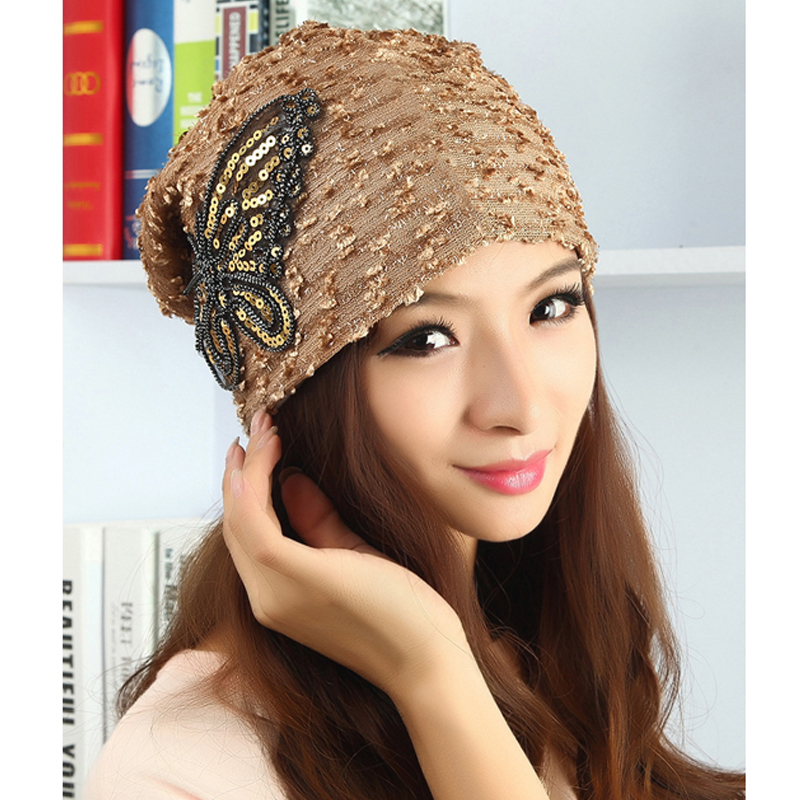 Free shipping Fashion and elegant autumn and winter hats for women  butterfly hood turban cap Skullies turban  in thet Beanies women s hats and fascinators vintage sinamay sagittate feather fascinator with headband tocados sombreros bodas free shipping