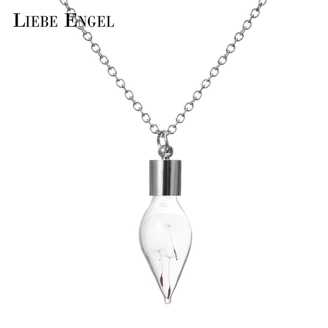 Liebe engel water drop real dandelion collares jewelry women glass liebe engel water drop real dandelion collares jewelry women glass bottle necklace pendants vintage choker mozeypictures Choice Image