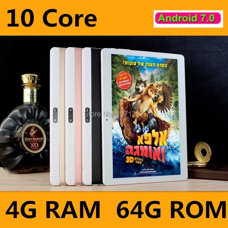 Date 10 pouce tablet PC 10 core Android 7.0 appel Téléphonique 4G LTE RAM 4 GB ROM 64 GB 1920x1200 IPS comprimés smartphone ordinateur MT6797