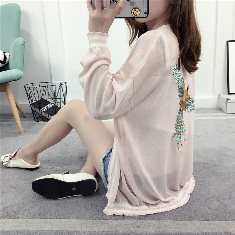 Embroidery Eagle Poncho Pink Summer Cardigans for Women Thin Soft Cape unif Female Cardigan oversized pull femme 2017 New KS1705