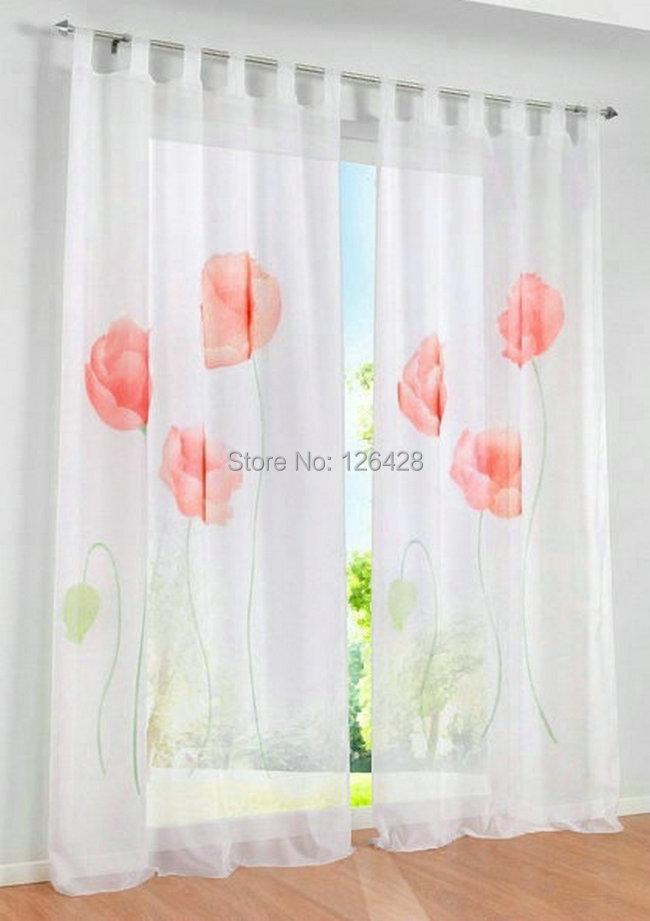 Good Quality Curtains Uk Part - 20: ... (One Piece) UK Handmade Inkjet Flowers Window Living Room Sheer Curtain/Good  Quality ...