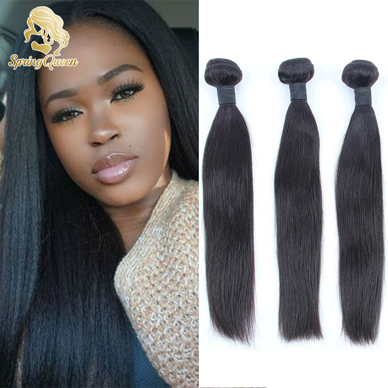 Spring Queen Hair Peruvian Virgin Straight Grade 7A Human Weaves Shipping Free