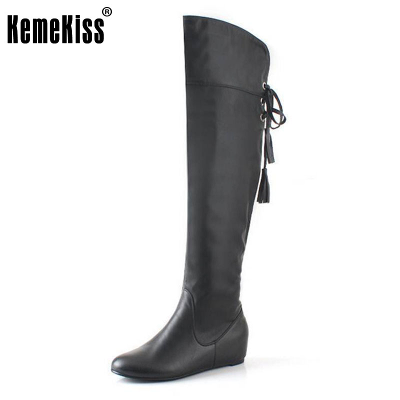 KemeKiss Size 34-43 Boots Tassel Sweet Style Women Boot Over Knee High Snow Boots Warm Winter Shoes Woman Botas Size 34-43 free shipping over knee wedge boots women snow fashion winter warm footwear shoes boot p15323 eur size 34 39