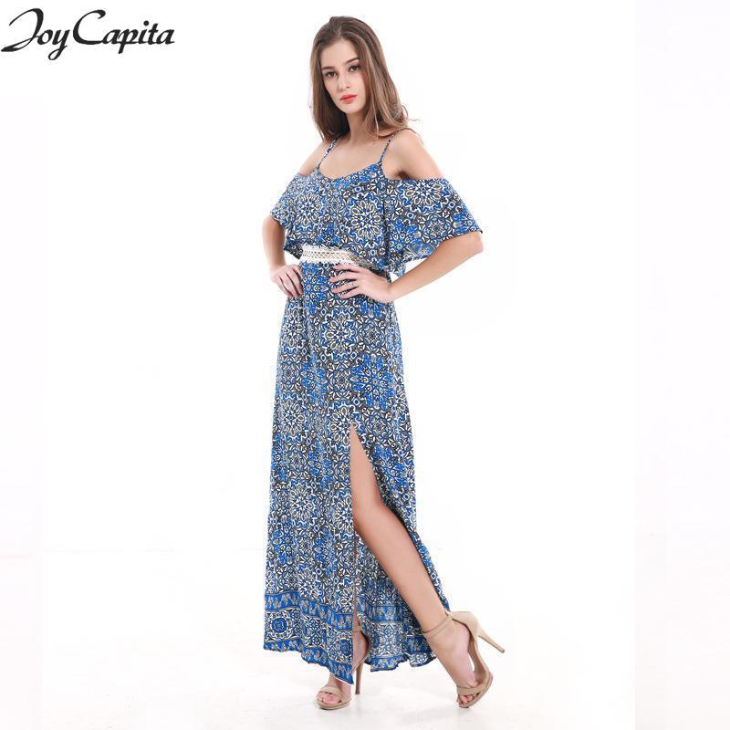 306fd0321ff73 US $37.49 |Joy Capita Women Blue Floral Dress Half Sleeve Loose Long  Dresses Summer Off The Shoulder Beach Elbise Bohemian Fashion Jurken-in  Dresses ...