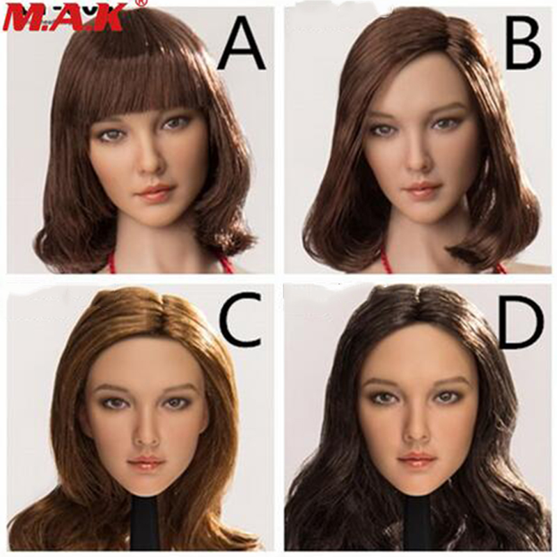 collection 1/6 scale female woman girl Asian beauty long/short hair head sculpt carved CT008 for 12'' PH body action figures