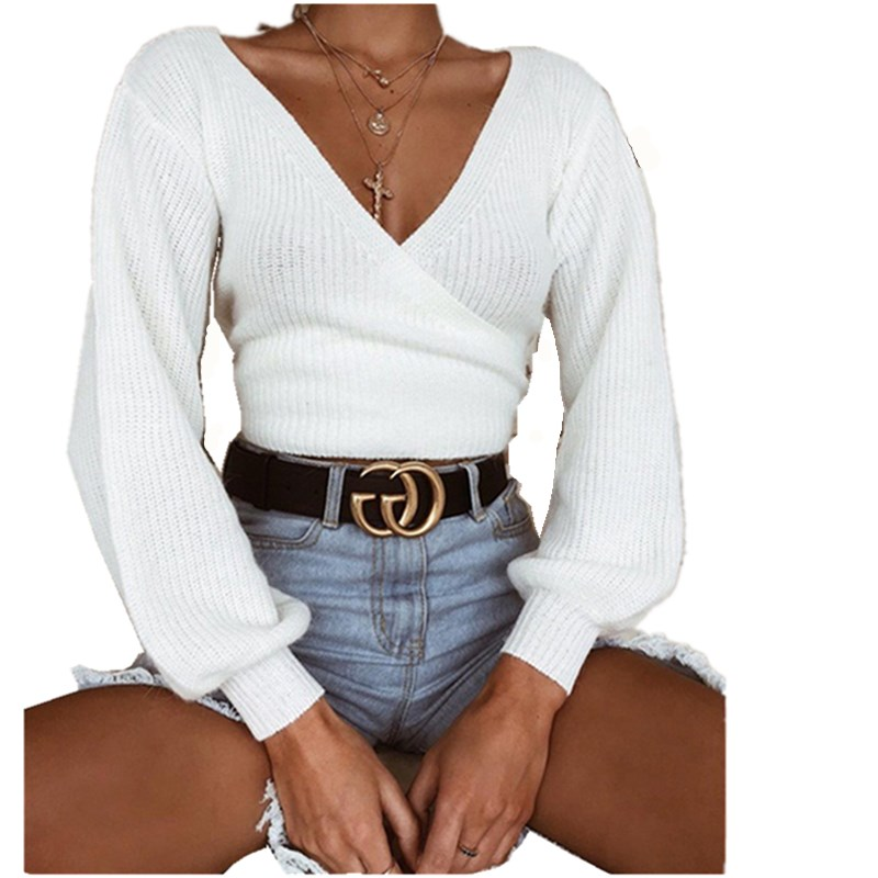 Autumn And Winter Sweaters Tops Loose Slim Sweater Pullover 2019 Casual Solid Fashion White Long Sleeve V-neck Women Clothing