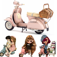 Pink blue Vespa vintag 1955 Italy old car metal toy 2 wheel motorcycle 1:12 model motor for bjd doll Blyth doll Photograph tool