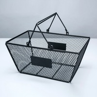 5pcs Black Cosmetics Storage Baskets Hollowed Out Design Skep With Handle Iron Wire Mesh Shopping Basket lin4312