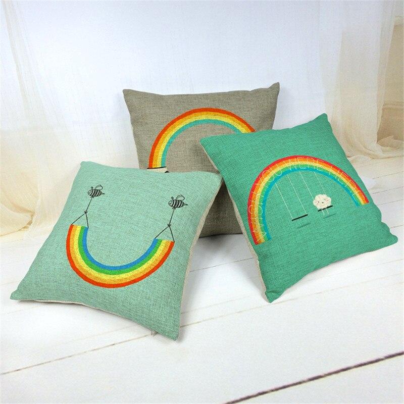 ᑎ‰Nuevo animal colorido Arco Iris Mantas almohada de algodón de