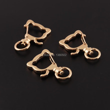 10pcs/lot Light Gold Color Cat Shape Swivel snap hook Lobster clasp clip buckle key ring chain for bag decoration