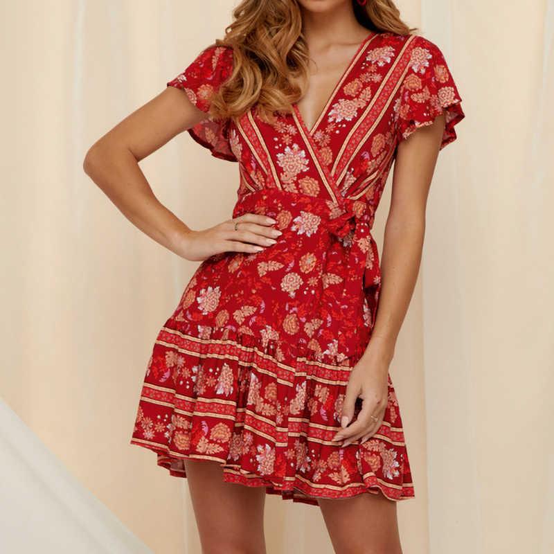 2019 винтажные летние женские платья, богемное пляжное платье с цветочным принтом, сексуальные мини Вечерние платья с глубоким v-образным вырезом, повседневное ТРАПЕЦИЕВИДНОЕ платье для женщин