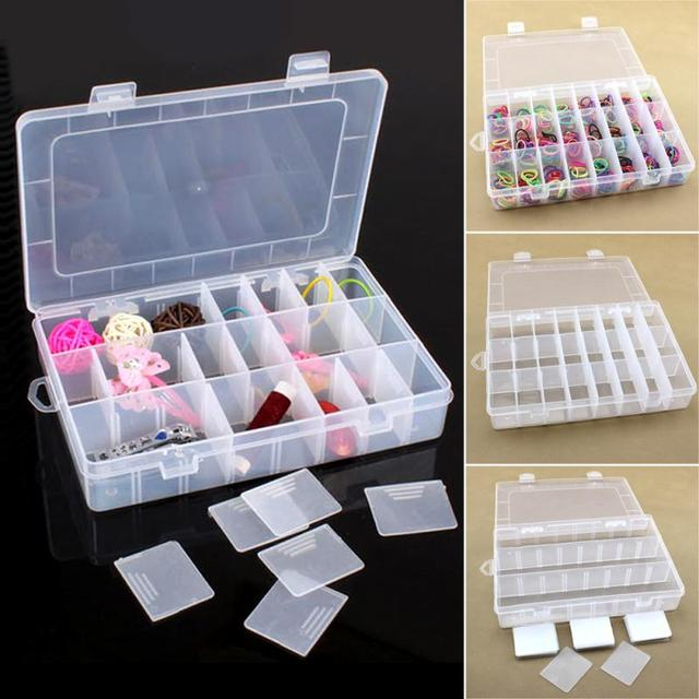 5 Colors Flip Type Adjustable Plastic 24 Compartment Storage Box Case Bead Rings Jewelry Display Organizer