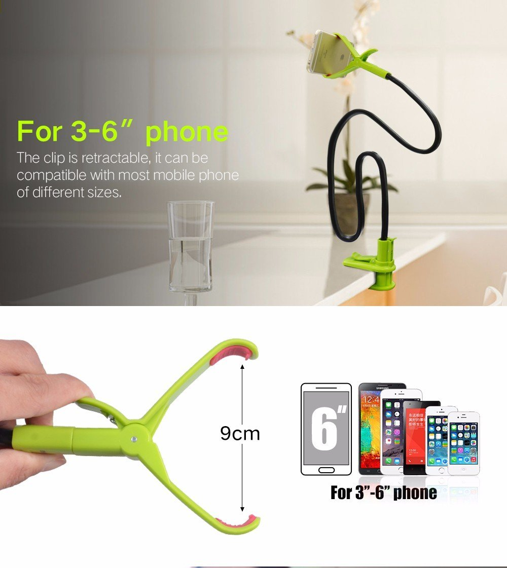 online shop bgreen bendable universal mobile cell phone desk holder 360 rotating clip bed stand for iphone 5s 6 plus 55 samsung andriod aliexpress mobile