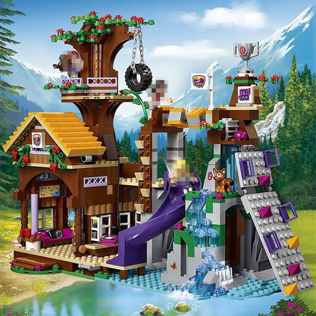 Compatible With Lego 41122 01047 784Pcs Friends Adventure Camp Tree House Building Blocks Figures Model Bricks Girl Toys 10162 friends city park cafe building blocks bricks toys girl game toys for children house gift compatible with lego gift