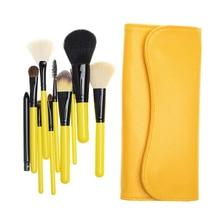 Goat Hair 10 pcs Portable Travel Makeup Brush Set Cosmetic Brush Kit Powder Contour Fan Makeup Brushes Tools
