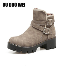 QUDUOWEI Spring And Autumn Women Suede Leather Shoes Vintage Europe Style Fashion Square High Heels Women Ankle Boots Big Size