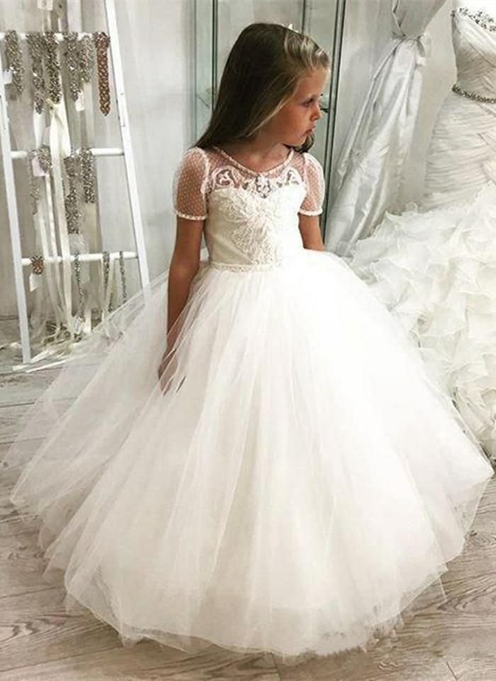 Cap Sleeves 2019 Flower Girl Dresses For Weddings Ball Gown Tulle Appliques Long First Communion Dresses For Little Girls