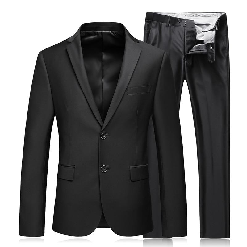 Пиджаки бизнес модная Высококачественная обувь джентльмен черный костюм комплект из 2 предметов (Пиджак + брюки)) для работы жениться класси...