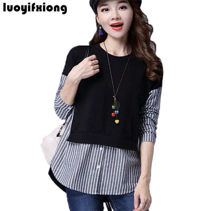 2018 Spring   Blouses     Shirt   Female Long Sleeve Casual Striped Patchwork Fake Two Pieces Women   Blouses   Loose Plus Size Lady Tops