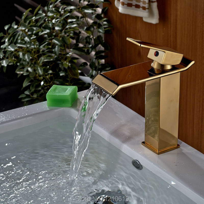 Uythner Newly Waterfall Bathroom Basin Faucet Sink Mixer Tap Golden Polished Cold&Hot Water Faucet Single Hole Single Handle гирлянда luazon дождь 1 5x1m led 300 220v green 671636