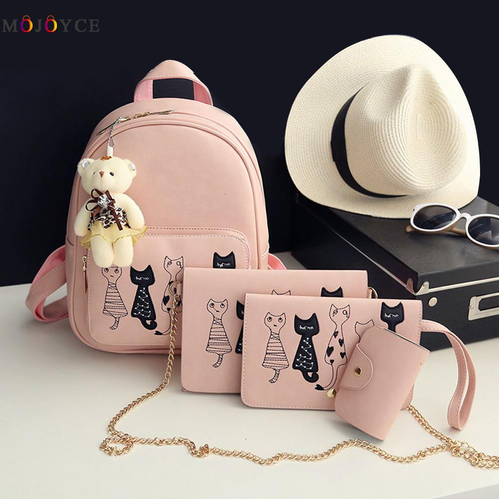 4pcs/set Small Backpacks Female School Bags For Teenage Girls Black Pink Pu Leather Women Backpack Shoulder Bag Purse Mochila #2