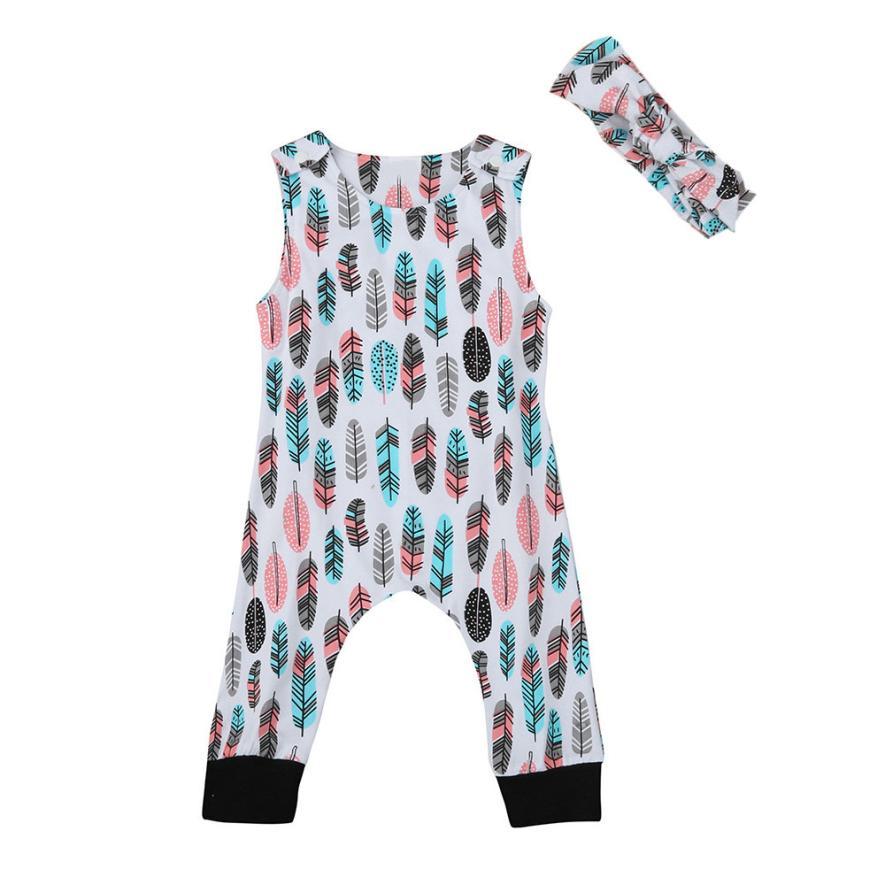 Toddler Infant Baby Boy Girl Feather Romper Jumpsuit Headband Outfit Sunsuit Set D50
