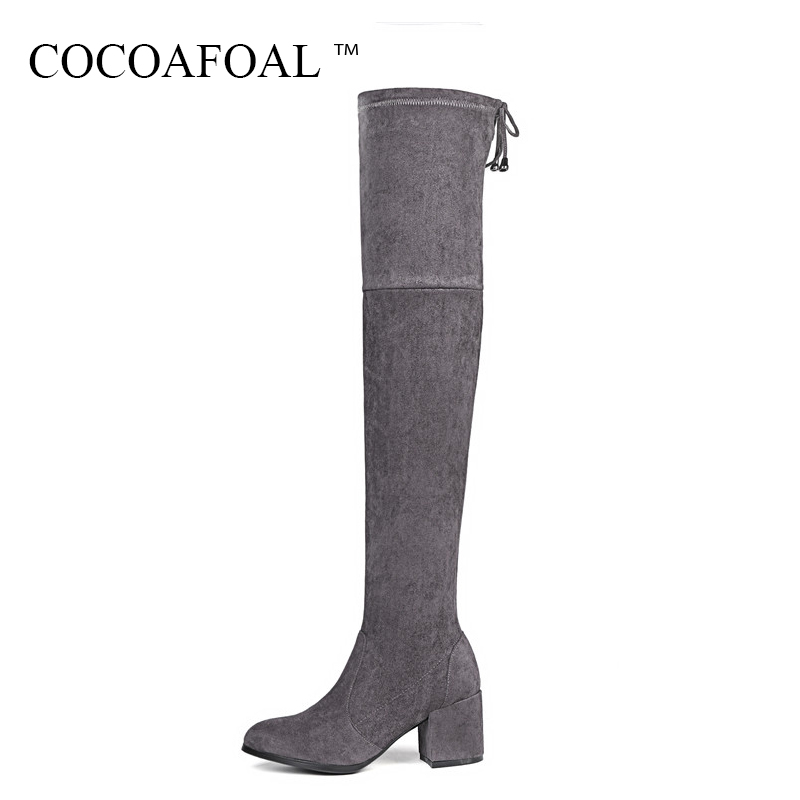 COCOAFOAL Winter Fashion Thigh Lace Up High Boots Genuine Leather Over The Knee Boots Plus Size 33 Black Women High Heeled Shoes 50pcs lot wire hanger fastener hanging photo picture frame quick easy clutch release nickel plate movable head ceiling