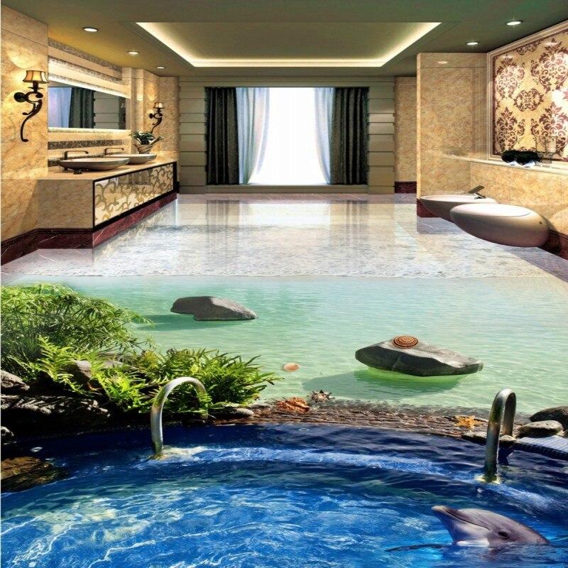 Kostenloser Versand Strand Villa Pool Dolphin 3d Stereo Badezimmer  Wohnzimmer Boden Verdickt Bad Bodenbelag Wohnzimmer Mural