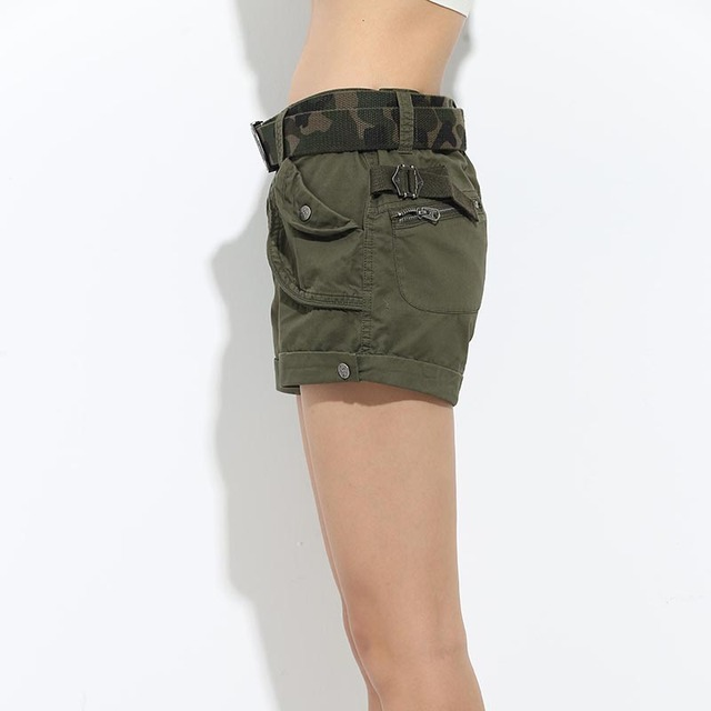 Brand Laides Shorts Women Casual Shorts Loose Pockets Zipper Military Army Green Large Size Summer Women Shorts Outdoors No Belt 8