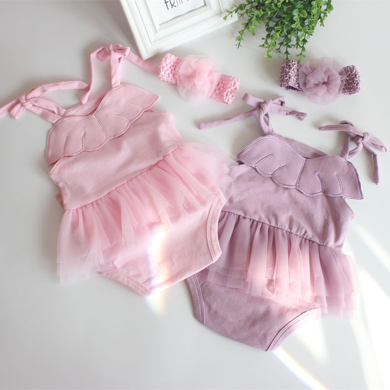 Baby girls rompers 2018 summer Newborn jumpsuit princess girls clothes sleeveless baby Rompers with head band roupas de bebe ...